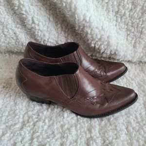 """Reba Chocolate Brown """"Lane"""" Western Ankle Boots"""